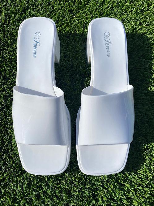 White Open Toe Casual Block heel Forever Brand
