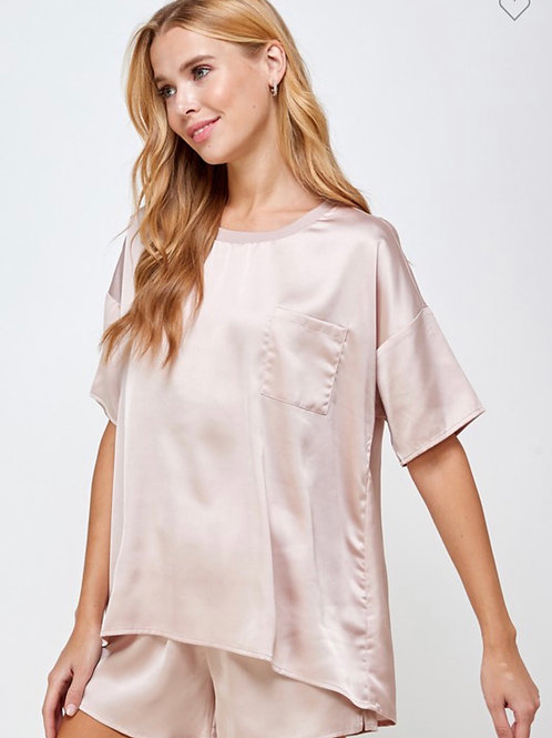 Rose Pink Silk Pjs