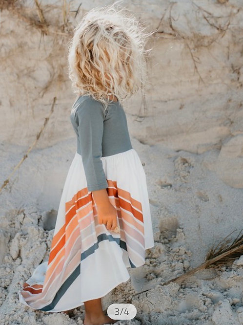 Pre- Order Gray Colored Long Sleeve Dress with Fall Rainbow