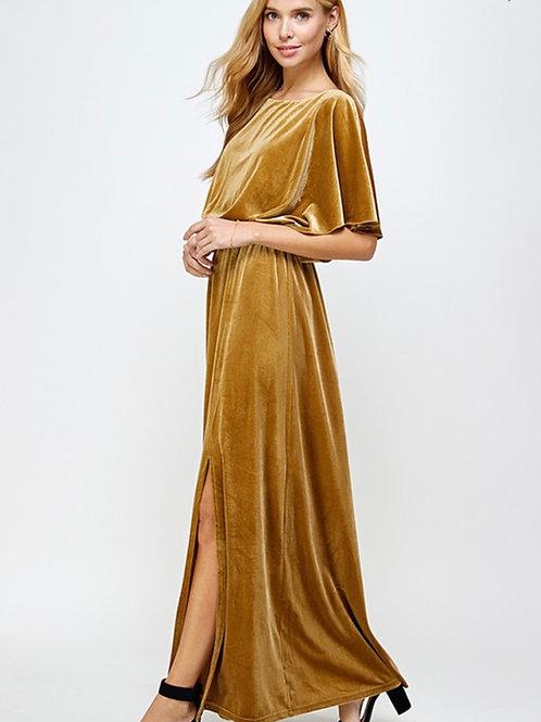 Gold Velvet Maxi Dress