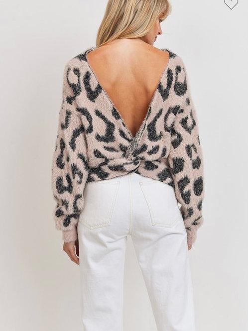 Open back long sleeve eyelash Leopard knit top