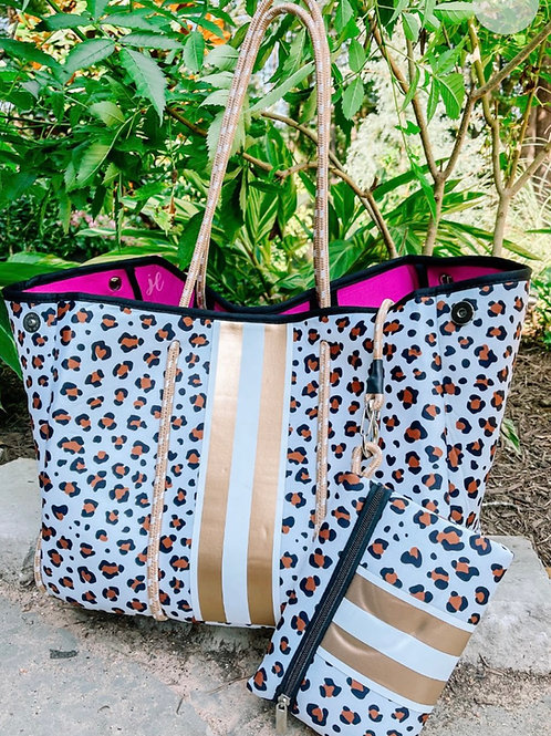 Gold Leopard Neoprene Bag 🤍