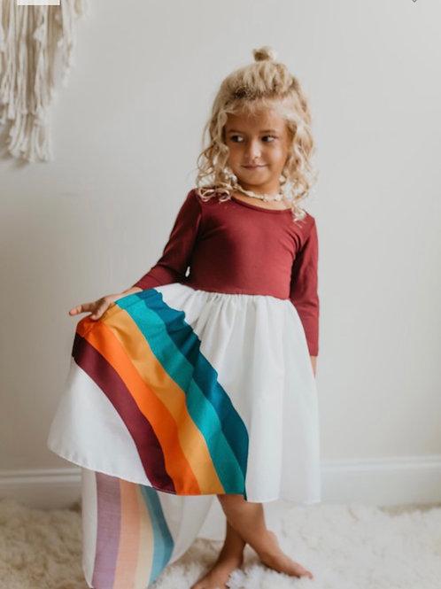 Pre-Order Wine Colored Long Sleeve Rainbow Dress