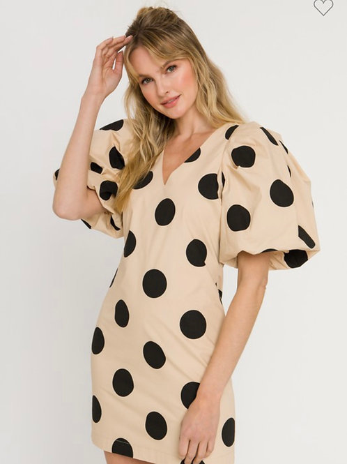 Poka Dotted Puff Sleeve Mini Dress