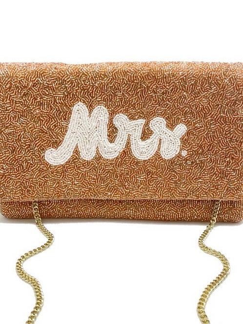 Champagne MRS. Beaded Clutch Bag