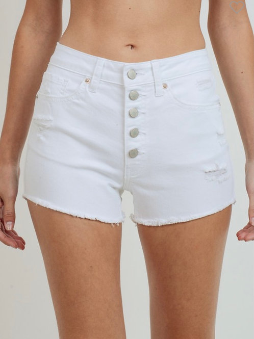 Just USA White Button Down Shorts