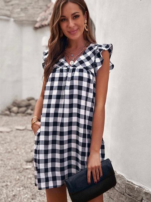 Black Plaid V-Neck Mini Dress