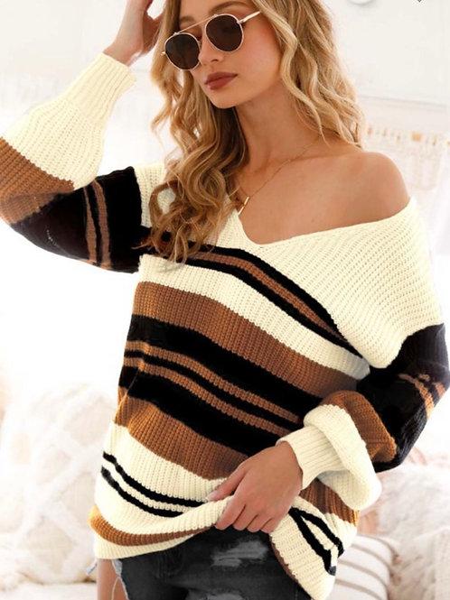 Deep V Neck Block Sweater