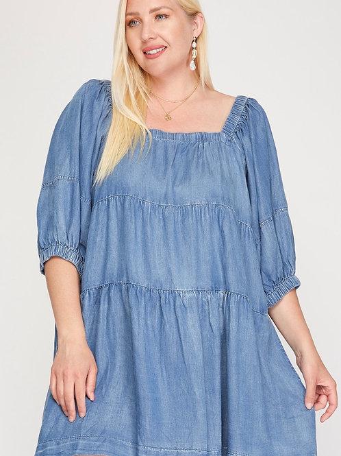 Plus Size Half Sleeve Denim Dress