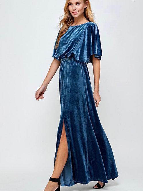 Teal Velvet Maxi Dress