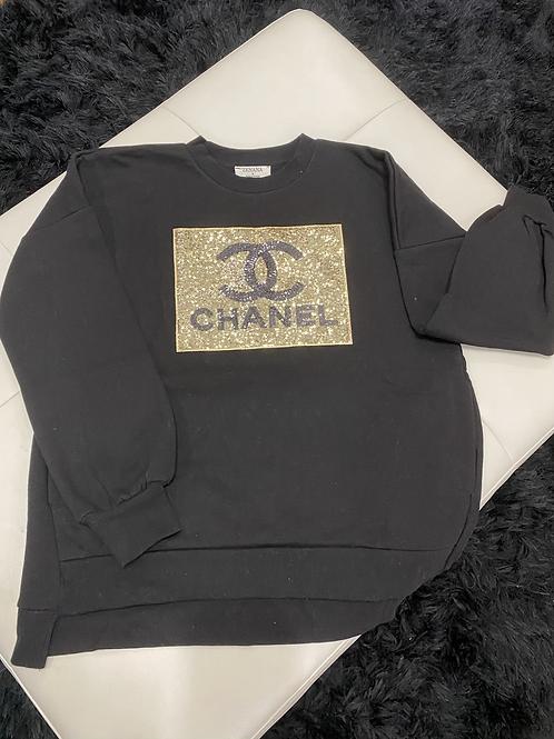 Gold & Black CC bling Top