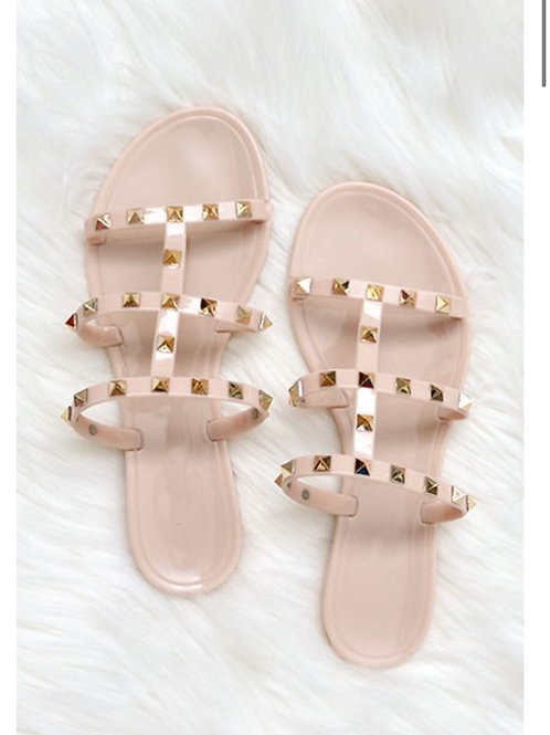 Jelly Studded Slide On Sandals