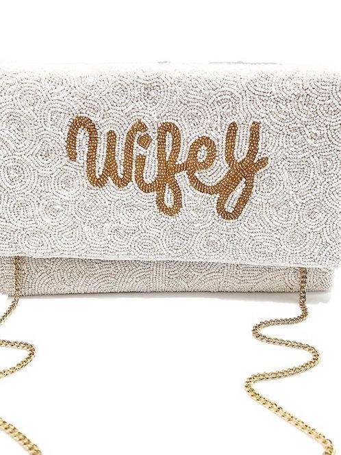 Wifey Beaded Clutch Bag