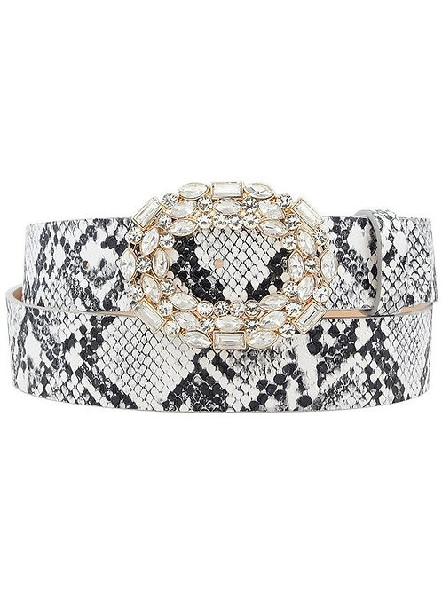 Rhinestone White Snake Skin Belt