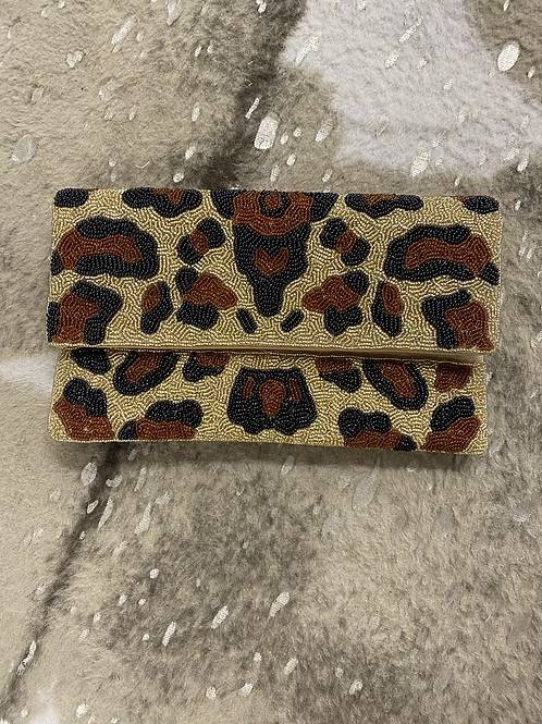 Leopard Beaded Clutch