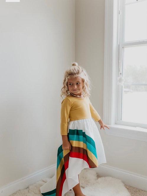 Pre-Order Mustard long sleeve rainbow dress