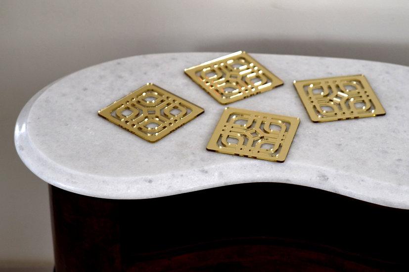 Golden mirror coasters