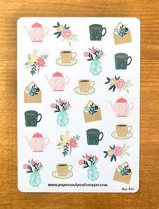 Autocollants - Thé et fleurs