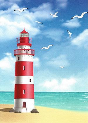 Carte postale - Phare sur une plage
