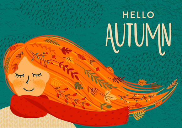 Postcard - Hello Autumn - Dreamy girl with orange hair