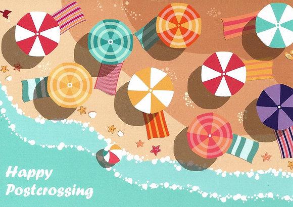 Carte postale - Happy Postcrossing / Plage