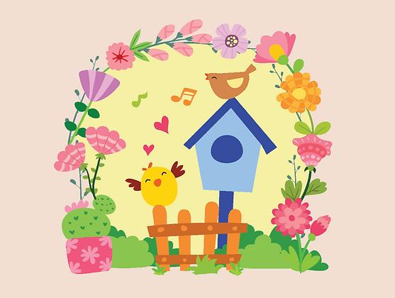 Carte postale - Les joyeux oiseaux et fleurs
