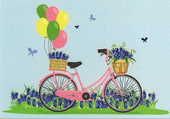 Postcard - Bike and blue flowers