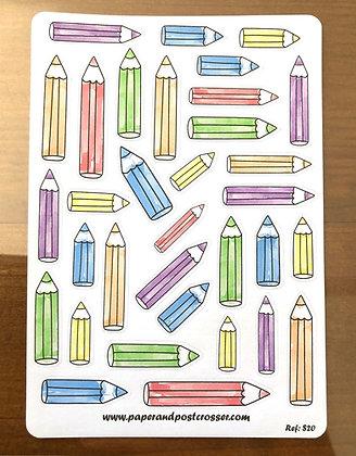 Autocollants - crayons de couleur
