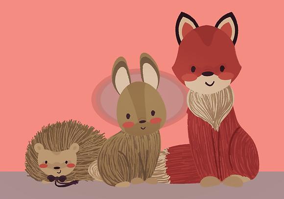 Postcard - Forest friends