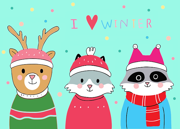 Postcard - I love winter - cute animals