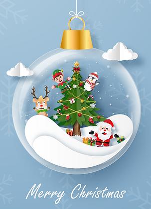 Postcard - Christmas blue ornament