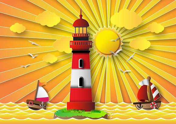 Postcard - Lighthouse in the sun