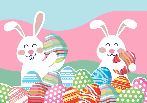 Postcard - Easter bunnies and eggs
