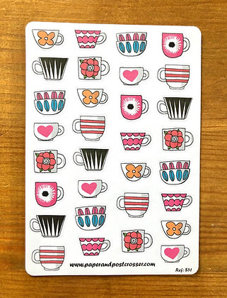 Stickers - Coffee cups and bowls