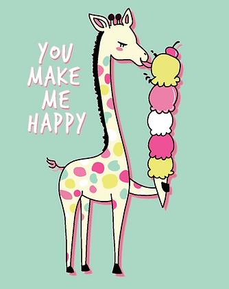 Carte postale - Girafe qui mange une glace