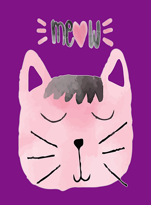 Postcard - Purple Kitty Cat