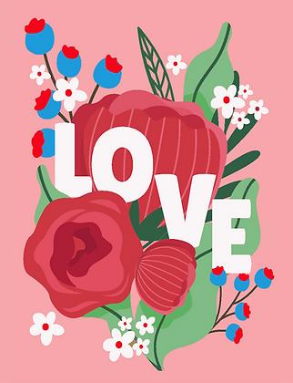 Carte postale - Fleurs et amour