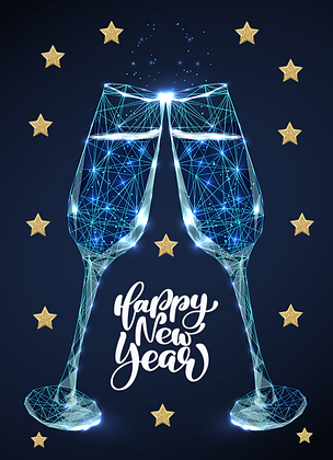 Postcard - Happy New Year - blue glasses