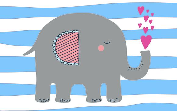 Postcard - Elephant sending love