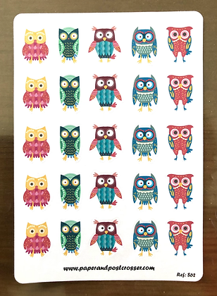 Stickers - Colorful owls
