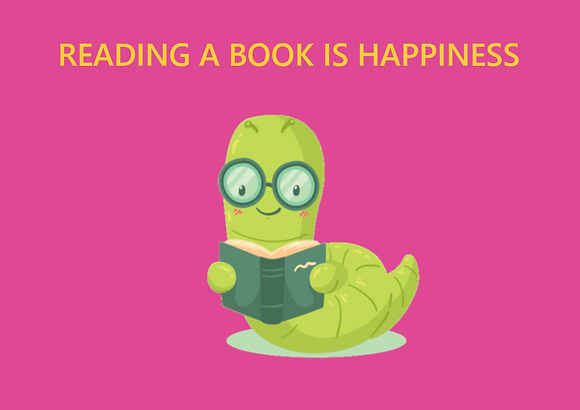 Postcard - Reading a book is happiness