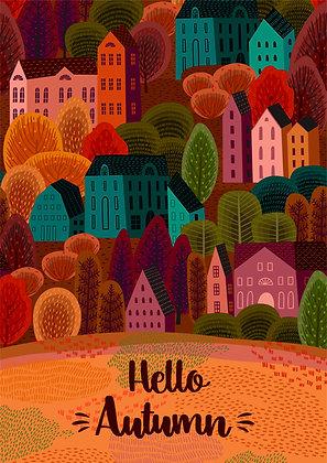 Postcard - Hello Autumn - Village