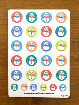 Stickers - Colorful snowmen
