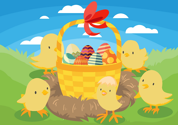 Postcard - Easter chicks