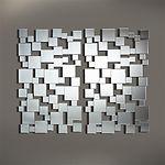 Le miroir PIXELS est un grand miroir rectangulaire, composé de 57 miroirs carrés biseautés !! Tout ces miroirs sont collés sur un support en MDF noir. Entre les petits miroirs le cadre est vide... à travers les trous vous voyez donc le mur. L'épaisseur du verre est 3 mm. Le dos du miroir est prévu avec 4 points de suspension, afin de pouvoir le suspendre horizontal et vertical.