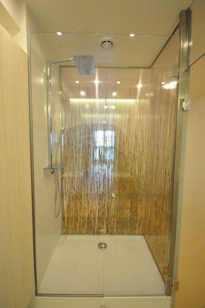 Porte de douche avec parois décoratives