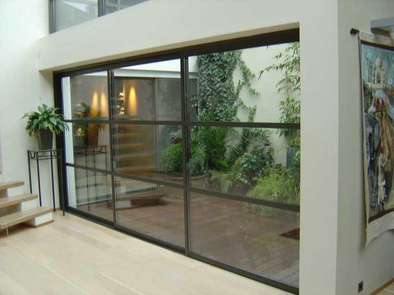 fenêtre coulissante 3 vantaux avec petits bois
