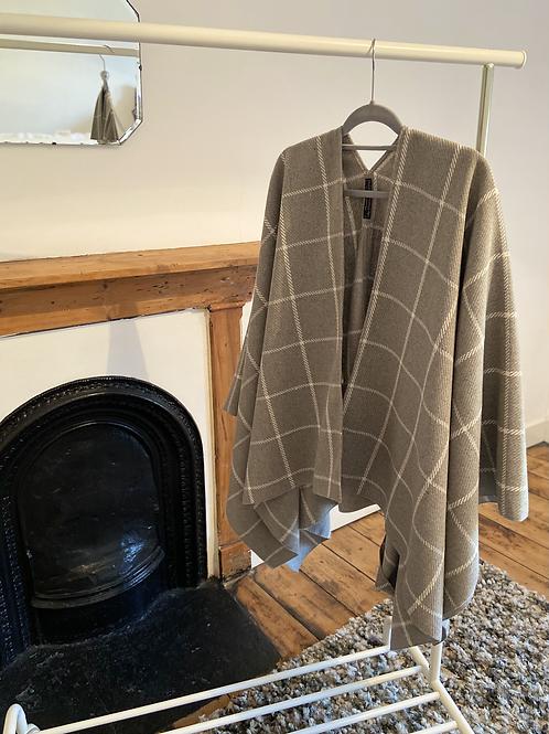 Grey Tweed Cape Scarf