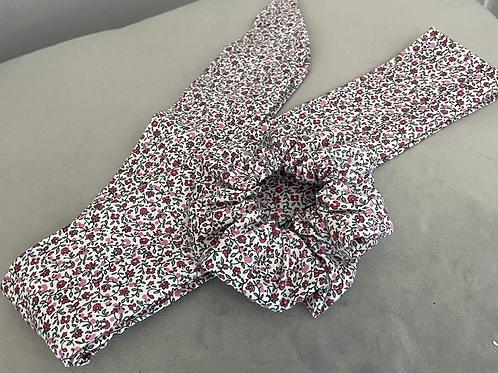 Pink Floral Scrunchie & Hair Scarf Tie Set