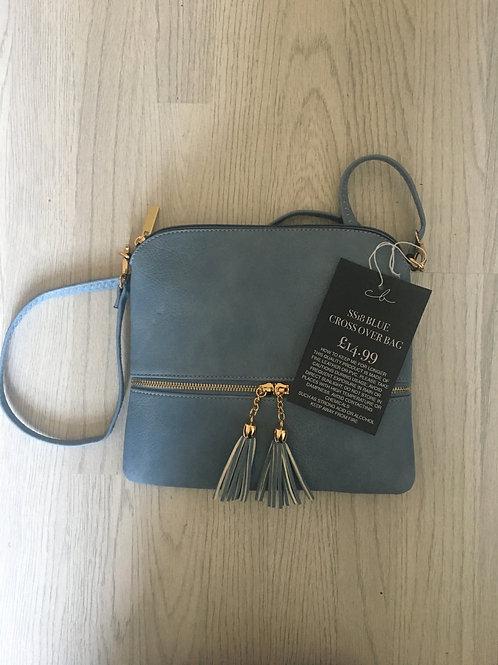 Blue Tassel Crossover Bag
